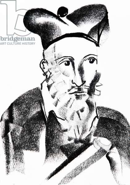 Representation de Nostradamus (Michel de Nostre Dame, Nostre-Dame ou Nostredame, 1503-1566) astrologue, ecrivain francais - dessin de Ewa KLOS