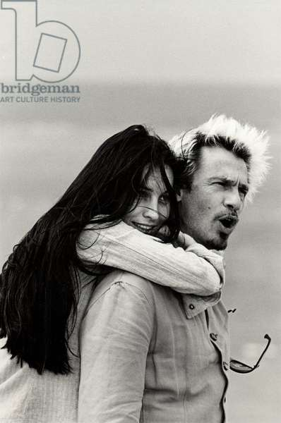Portrait of Florent Pagny (singer, actor) and Azucena Caamano (artist)