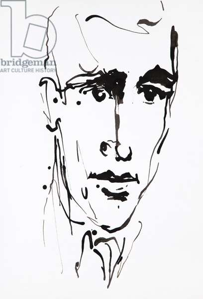 Portrait of JD Salinger (Jerome David Salinger, 1919-2010), American writer - drawing by Ewa KLOS