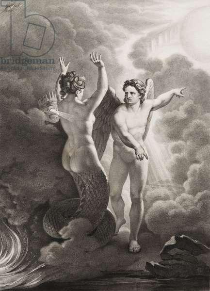 """Satan, ma mort le peche Gravure tiree de """"""""Le paradis perdu"""""""" de John Milton (1608-1674) traduit par Chateaubriand, 1868"""