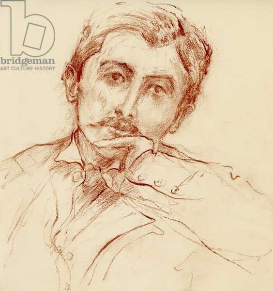 Portrait de Marcel Proust (1871-1922), romancier francais - dessin de Ewa KLOS