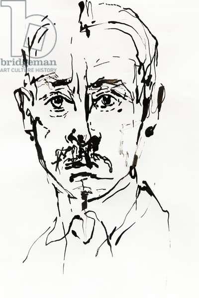Portrait de Rainer Maria Rilke (1875-1923), ecrivain, poete autrichien - dessin de Ewa KLOS