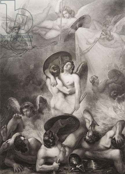 """Satan blesse Gravure tiree de """"""""Le paradis perdu"""""""" de John Milton (1608-1674) traduit par Chateaubriand, 1868"""