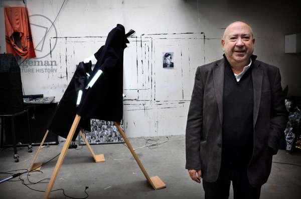 Portrait of Christian Boltanski in his workshop in December 2009