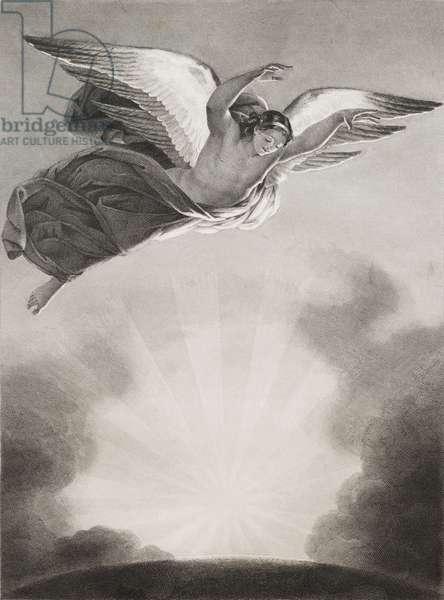 """L'ange Raphael dans les airs Gravure tiree de """"""""Le paradis perdu"""""""" de John Milton (1608-1674) traduit par Chateaubriand, 1868"""