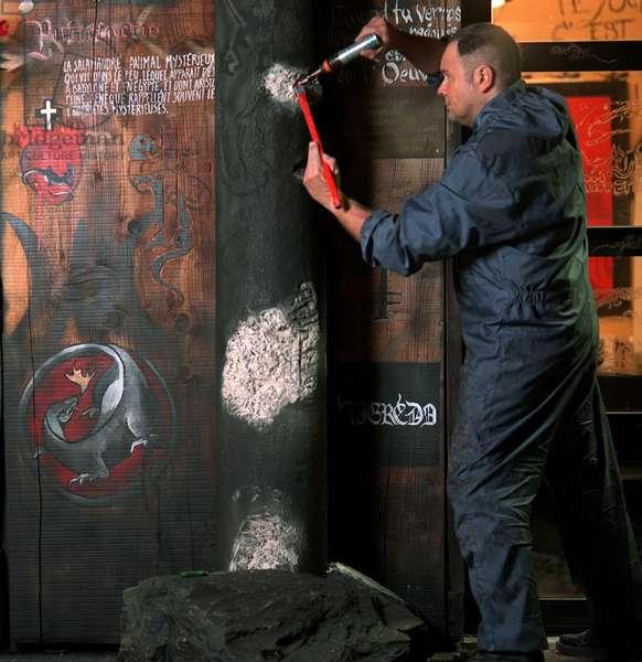 Portrait of Thierry Ehrmann (artist) at la Demeure du Chaos (DDC) 2005 (photo)