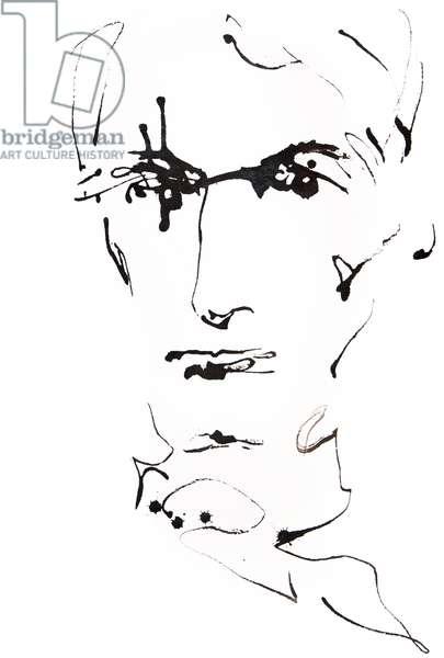 Portrait de Charles Baudelaire (1821 - 1867) , dessin de Ewa Klos