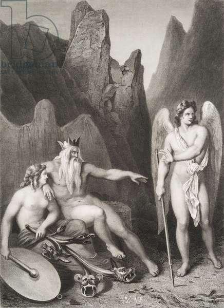 """Satan a la cour de chaos Gravure tiree de """"""""Le paradis perdu"""""""" de John Milton (1608-1674) traduit par Chateaubriand, 1868"""