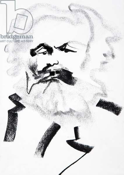 Portrait de Karl Marx (1818-1883) historien, journaliste, philosophe, economiste, sociologue, essayiste, theoricien de la revolution, socialiste et communiste allemand - dessin de Ewa KLOS