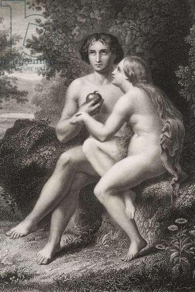 """Eve donne la pomme a Adam Gravure tiree de """"""""Le paradis perdu"""""""" de John Milton (1608-1674) traduit par Chateaubriand, 1868"""