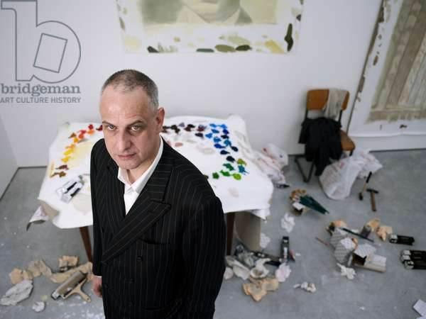 Portrait of Luc Tuymans (artist) in his studio - March 2007
