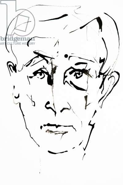 Portrait de Ernst Junger (1895-1998), ecrivain allemand - dessin de Ewa KLOS