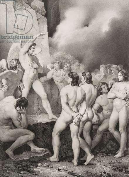 """Le conciliabule Gravure tiree de """"""""Le paradis perdu"""""""" de John Milton (1608-1674) traduit par Chateaubriand, 1868"""