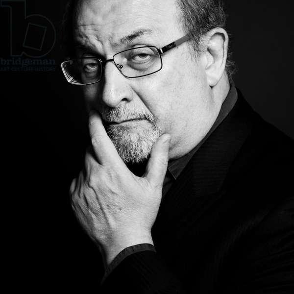 Portrait of (Ahmed) Salman Rushdie, Hotel Park Hyatt Paris-Vendome, 11th September 2016 (b/w photo)