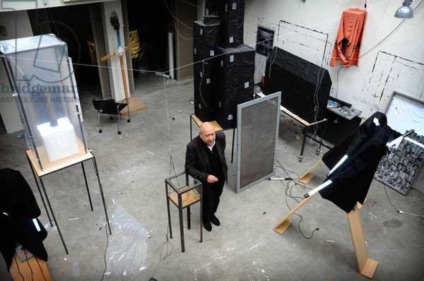 Portrait of Christian Boltanski in his studio.