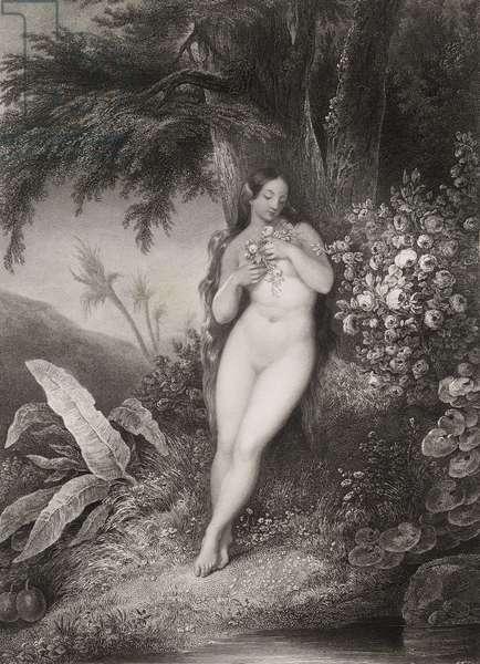 """Eve effeuillant les roses Gravure tiree de """"""""Le paradis perdu"""""""" de John Milton (1608-1674) traduit par Chateaubriand, 1868"""