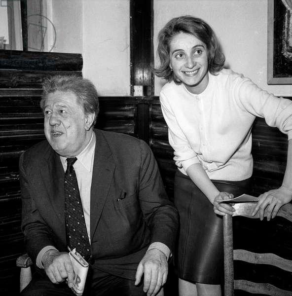 Le comedien francais Michel Simon recu au cine Club d'Annecy 1961 Photographie