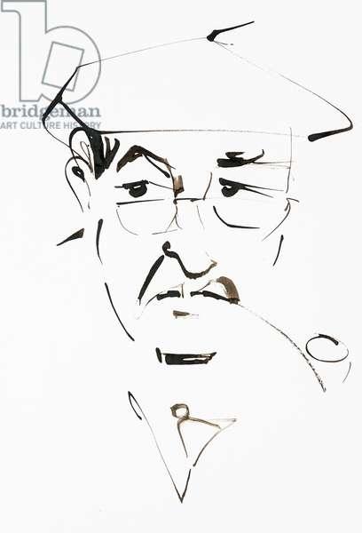 Portrait de Gunter Grass (ne en 1927), ecrivain et artiste allemand - dessin de Ewa KLOS