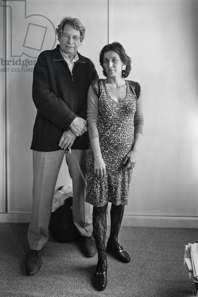 Portrait of Pierre Chabert (actor, director) and Barbara Hutt (actress) at their place 23/05/2005
