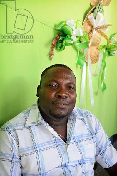 Portrait of Wooly Saint Louis Jean Haitian singer. January 2012.