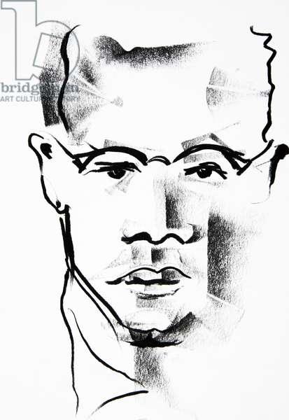 Malcolm X (Malcolm Little, 1925-1965), dessin de Ewa KLOS