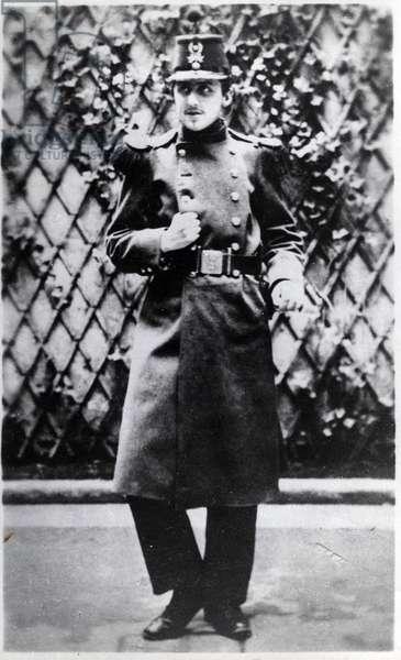 Portrait de Marcel Proust (1871-1922), ecrivain francais soldat a Orleans, photographie 1890