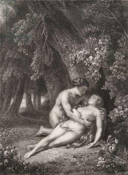 """Le reveil d'Eve Gravure tiree de """"""""Le paradis perdu"""""""" de John Milton (1608-1674) traduit par Chateaubriand, 1868"""
