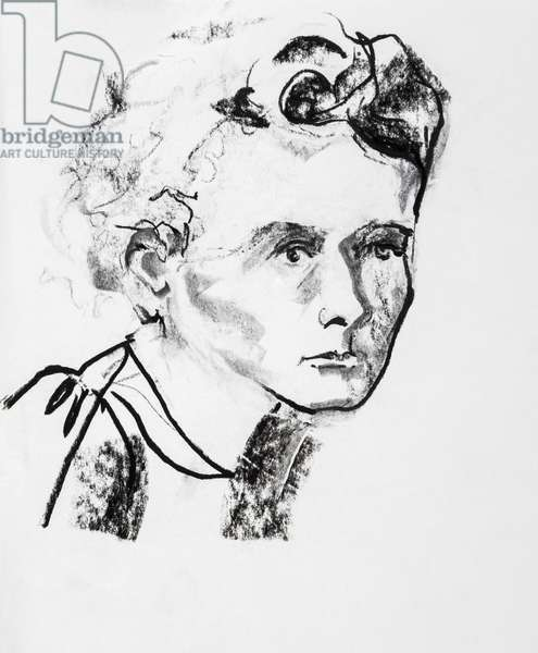 Portrait de Marie Curie (1867-1934), physicienne et chimiste francaise d'origine polonaise - dessin de Ewa KLOS