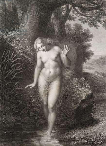 """Eve se mirant dans l'eau Gravure tiree de """"""""Le paradis perdu"""""""" de John Milton (1608-1674) traduit par Chateaubriand, 1868"""
