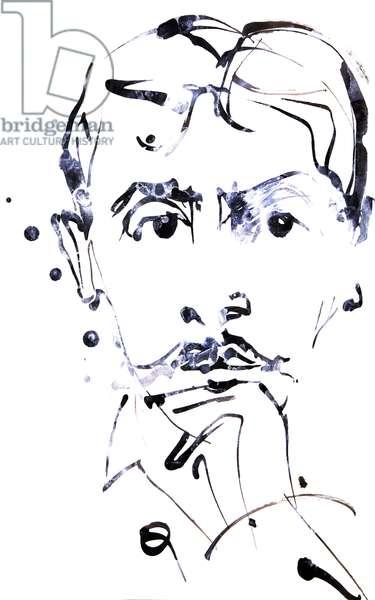Portrait de Marcel Proust (1871-1922) , dessin de Ewa Klos