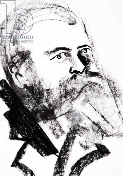 Portrait de Friedrich Engels (1820-1895), theoricien socialiste et homme politique allemand - dessin de Ewa KLOS