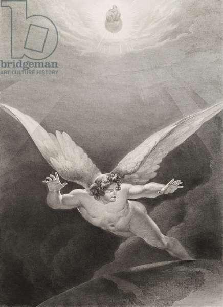 """Satan cotoyant les murs du ciel Gravure tiree de """"""""Le paradis perdu"""""""" de John Milton (1608-1674) traduit par Chateaubriand, 1868"""