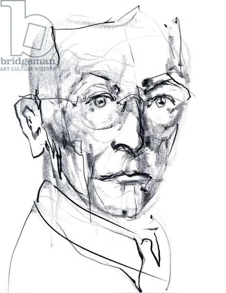 Portrait de Hermann Hesse (1877-1962), romancier, poete, essayiste allemand, puis suisse - dessin de Ewa KLOS