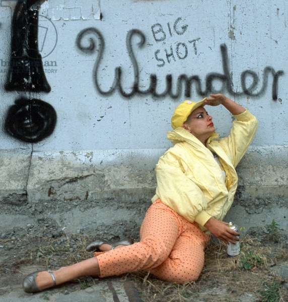 Portrait of Catharina Hagen (aka Nina Hagen) near Berlin Wall (West Berlin side) - around 1981