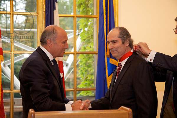 Presentation of the Legion of Honour to ROTH Philip by FABIUS Laurent - Date: 20130925