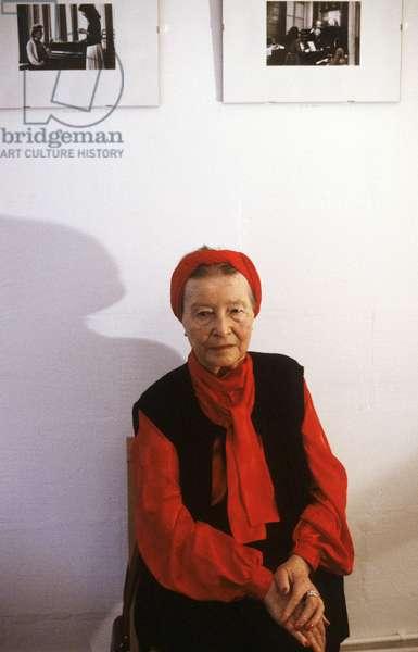 Portrait of Simone de Beauvoir (born Simone Lucie Ernestine Marie Bertrand de Beauvoir) - June 1985
