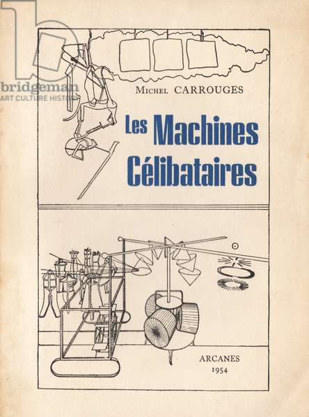 Title page of 'Les Machines Célibataires', by Michel Carrouges with illustrations by Marcel Duchamp, published by Arcanes, 1954 (colour litho)
