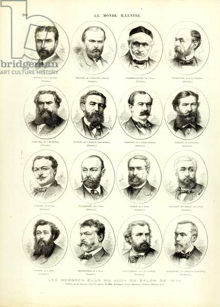 The Elected Members of the Jury of the Salon of 1874, from 'Le Monde Illustré', 17 November 1874 (engraving)