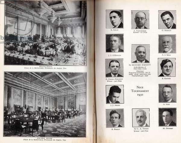 Rooms in the Palais de la Méditerranée, and Participants of Nice Chess Tournament, 1930 (litho)