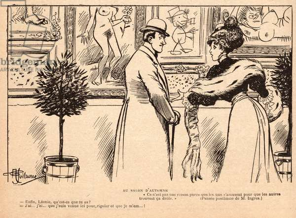 At the Salon d'Automne, from 'Le Rire', 11 November 1905 (engraving)