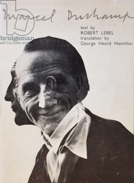 Front cover of 'Marcel Duchamp', by Robert Lebel, with photo by Victor Obsatz, published by Grove Press, 1959 (colour litho)