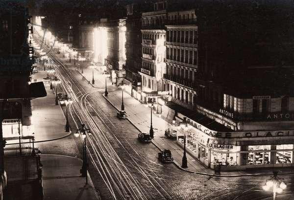 La Canebière at night, Marseille, 1950 (b/w photo)