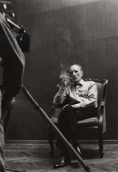 Marcel Duchamp and Gianfranco Baruchello on the set of 'La Verifica Incerta', by Gianfranco Baruchello, Rome, 1965 (b/w photo)