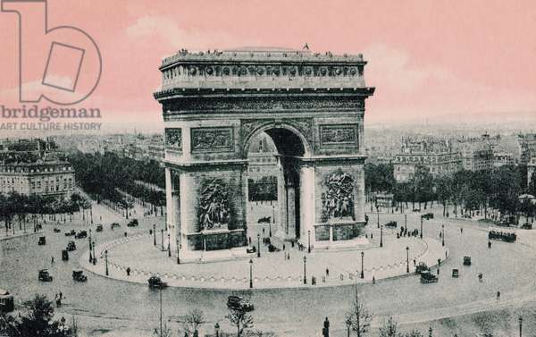 Arc de Triomphe and the Place de l'Etoile, 1910 (hand-coloured photo)