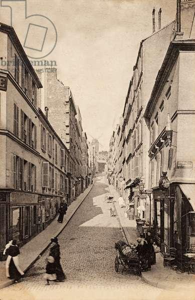 La Rue Tholoze, Montmartre, Paris, 1900 (b/w photo)