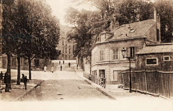 Rue Girardon, Montmartre, Paris, 1900 (b/w photo)
