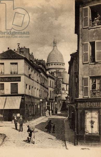 Rue Norvins, Old Montmartre, 1916 (b/w photo)