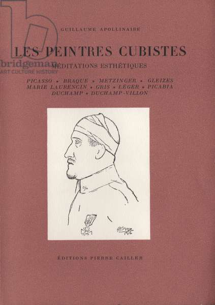 Front cover of 'Les Peintres Cubistes', by Guillaume Apollinaire, with portrait of Apollinaire by Pablo Picasso, 1918 (colour litho)