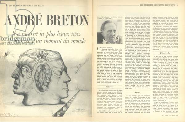 Portrait of Andre Breton, from 'Arts Loisirs', 11th October 1966 (litho)