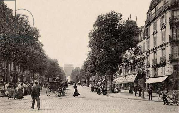 Avenue de Wagram with a Morris Column and Arc de Triomphe, Paris, 1895 (b/w photo)